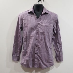 DKNY slim fit stretch purple polka dot men's shirt